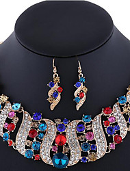 Women's Jewelry Set Earrings Statement Necklaces Luxury Costume Jewelry Gemstone Rhinestone Rose Gold Plated Imitation Diamond Alloy