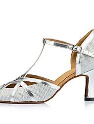 Customizable Women's Dance Shoes Sparkling Glitter Sparkling Glitter Latin Sandals Flared Heel Practice Beginner Outdoor Silver Gold