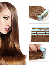 20pcs/lot Indian Virgin Hair PU Tape Hair Glue Skin Weft Tap Hair Extensions Free Ship A variety of Color Human Hair