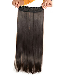 5 Clips Long Straight Light Brown (#6) Synthetic Hair Clip In Hair Extensions For Ladies