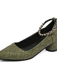 Women's Heels Fall Comfort PU Casual Low Heel Buckle Black Green Pink Gray Walking