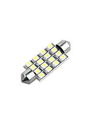 42 milímetros 16 LED SMD cúpula carro branco festão interior lâmpada (2 peças)