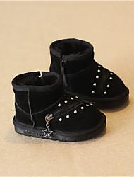 Boy's Boots Winter Comfort Suede Casual Flat Heel Black