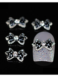 10pcs  Black Dots Bow Tie Rhinestone Alloy Accessories Finger Tips Nail Art Decoration