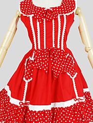 Une Pièce/Robes Doux Princesse Cosplay Vêtrements Lolita Couleur Pleine Manches Courtes Genou Robe Pour Coton
