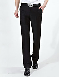 Men's Straight Business Pants,Work Simple Solid Mid Rise Elasticity Others Micro-elastic Fall Winter