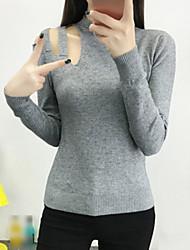 Damen Standard Pullover-Lässig/Alltäglich Ausgehen Einfach Solide Schwarz Grau Orange Rundhalsausschnitt Langarm Kunstseide Herbst Winter