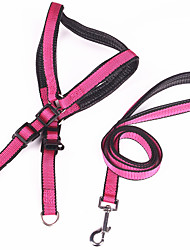 Dog Harness / Leash Casual Solid Pink PU Leather