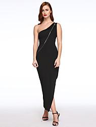 Mulheres Bandagem / Bainha Vestido,Bandagem Sensual / Simples Sólido Assimétrico Longo Sem Manga Branco / Preto Poliéster Verão