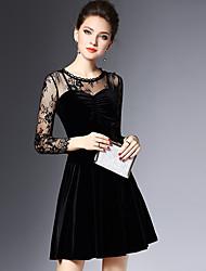 2016 new women's winter fashion sexy hollow Slim was thin long-sleeved black dress