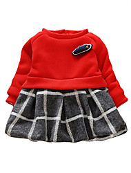 Girl's Cotton Casual Spring/Fall/Winter Going out Casual/Daily Plaid Patchwork Warm Thicken Long Sleeve Dress