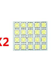 2x branco 5050 levou 20 SMD painel mapa cúpula luz interior + t10 festão adaptador BA9S