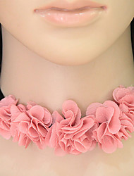 Women's Choker Necklaces Flower Fabric Fashion European Floral Jewelry For Casual