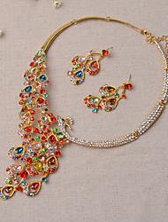 Schmuck Halsketten Ohrringe Set Braut-Schmuck-Sets Hochzeit Party 1 Set Damen Goldfarben Silber Hochzeitsgeschenke