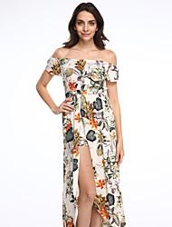 Women's Off The Shoulder Floral Slim Split Casual Jumpsuits,Boho Boat Neck Short Sleeve