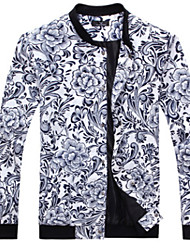 Men's Casual/Daily Simple Jackets,Floral Stand Long Sleeve Fall / Winter Blue / White / Beige Rayon Medium