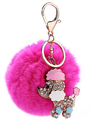 Key Chain Sphere / Dog Key Chain Peach Metal / Plush
