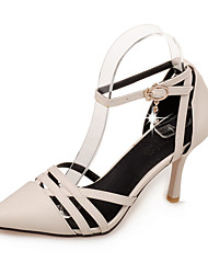 Sandals Spring Summer Fall Leatherette Office & Career Dress Casual Stiletto Heel Buckle Black Pink Beige