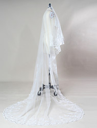White / Ivory Bride Wedding Veil One-tier Cathedral Veils Lace Applique Edge Tulle
