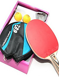 Tennis de table Raquettes Ping Pang Bois Manche Court Boutons 1 Raquette Balles de Tennis de Table Intérieur-#