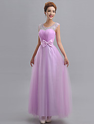 Sheath / Column One Shoulder Floor Length Tulle Bridesmaid Dress with Beading Appliques by Yaying