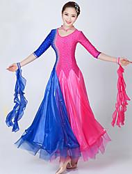 Danse de Salon Robes Femme Spectacle Elasthanne Tulle Broderie Fantaisie 2 Pièces La moitié des manches Robe Tour de Cou