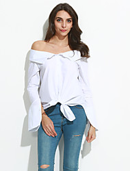 Women's Casual/Daily Street chic Spring / Fall ShirtSolid Boat Neck Long Sleeve White Cotton Medium