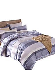 Mingjie 100% Cotton Blue and Grey Lines Bedding Sets 4PCS for Twin Full QueenSize from China Contian 1 Duvet Cover 1 Flatsheet 2 Pillowcases