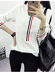 Women's Casual/Daily Simple Shirt,Solid Halter Long Sleeve White Cotton