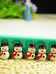muñeco de nieve de Navidad con herramientas de decoración bufanda fondant pastel de chocolate de silicona torta del molde, l12 * w4 * h1.3cm