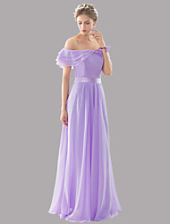 Floor-length Bateau Bridesmaid Dress - Open Back Sexy Elegant Beautiful Back Lace-up Sleeveless Chiffon