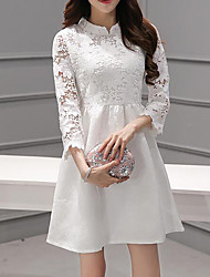 Women's Casual/Daily Sexy Lace Dress,Solid Sweetheart Above Knee Long Sleeve Red / White / Black Rayon Spring / Summer Mid Rise Inelastic