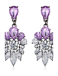 Luxury Engagement Jewelry White Purple Crystal Stud Earrings Long Pendents Wedding Earring Party Jewelry For Women