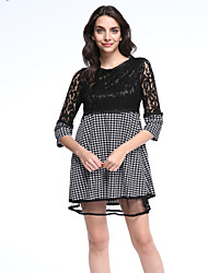 Women's Lace Vintage / Street chic Print Plus Size / A Line Lace Dress,Round Neck Mini
