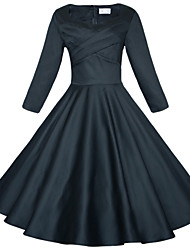 Maggie Tang Women's 3/4 Sleeve 50s VTG Retro Rockabilly Hepburn Pinup Full Circle Swing Cos Party Dress 567L