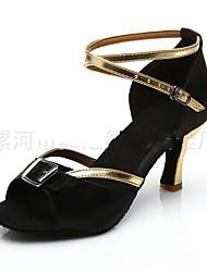 Non Customizable Women's Dance Shoes Satin Satin Latin Sandals Flared Heel Practice Black / Blue