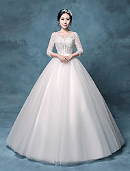 Princess Wedding Dress Floor-length V-neck Lace / Organza / Tulle / Sequined with Appliques / Crystal / Lace / Sequin