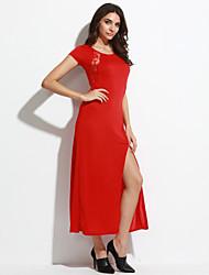 женщин вскользь / ежедневное сексуальное платье оболочки кружева, вокруг шеи Midi твердого вещества