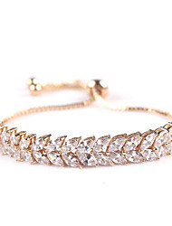Women's Chain Bracelet Crystal Zircon Cubic Zirconia Classic Fashion Leaf Silver Red Black/White Golden Rose Gold Jewelry 1pc