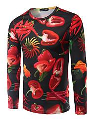 Herren Druck Einfach Lässig/Alltäglich T-shirt,Rundhalsausschnitt Herbst Langarm Rot Modal Mittel