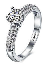 Micro-Inserted JewelryTrend Platinum Engagement Ring SWA Element Austrian Crystal Bridal Ring Wedding Ring