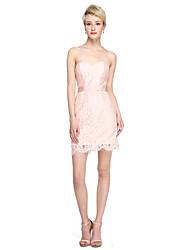 2017 Lanting Bride® Short / Mini Lace Taffeta Mini Me Bridesmaid Dress - Sheath / Column Sweetheart with Sash / Ribbon
