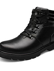 High Quality Men's Boots Fashion Bootie Comfort High Top Leather Shoes Fur Lining Outdoor Flat Heel Lace-up Black