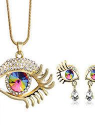 Women's Jewelry Set Crystal Pendant Rhinestone Fashion Costume Jewelry Crystal Rhinestone Gold Plated Drop Evil Eye 1 Necklace 1 Pair of