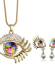 Mujer Juego de Joyas Cristal Moda joyería de disfraz Cristal Brillante Chapado en Oro Gota Mal de Ojo 1 Collar 1 Par de Pendientes Para