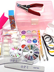 24Sets New Manicure Kit Carve Patterns Designs Woodwork 100Pcs Nail Tips OPI Box Configuration