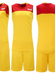 Men's Kid's Short Sleeve Basketball Running Sweatshirt Tops Baggy Shorts Breathable Sweat-wicking Comfortable Yellow Red BlackYellow Red