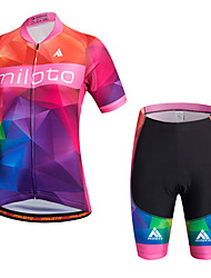 Miloto Cycling Jersey with Shorts Women's Short Sleeve Bike Bib Shorts Shirt Sweatshirt Jersey Bib Tights Shorts TopsQuick Dry Moisture