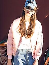 Feminino Casaco Capa,Simples Sólido Casual-Poliéster Penas de Pato Branco Manga Longa Decote V Rosa Branco