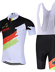 Sports QKI German Cycling Jersey with Bib Shorts Men's Short Sleeve BikeBreathable / Quick Dry / Anatomic Design / Back Pocket /3D Coolmax Gel Pad